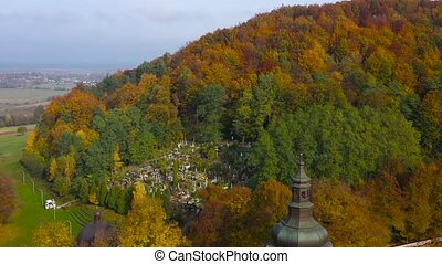 Aerial view of Krekhiv Monastery and the surrounding landscape in autumn. Lviv region, Ukraine