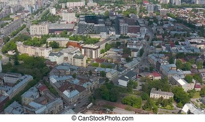 View from the height on Lviv, Ukraine: old and new buildings mixed on the city streets