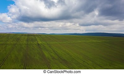 View from the height on rural landscape: green field and...