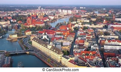 View from the height on the historic city center and the...