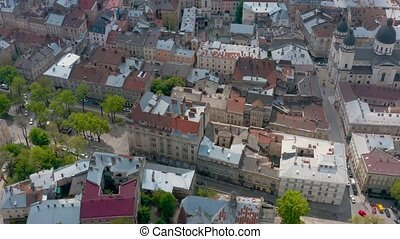 Aerial view of the historical center of Lviv, UNESCO's cultural heritage
