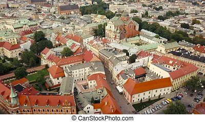 View from the heights of Wawel Castle in the historic center...