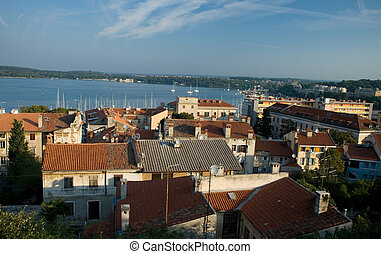 View from the hill at the croatian city Pula