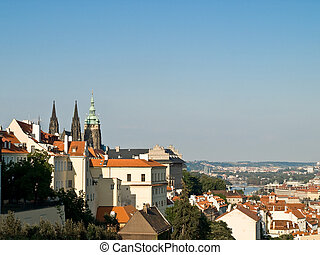 Prague old city - View from the hill to the Prague old city ...