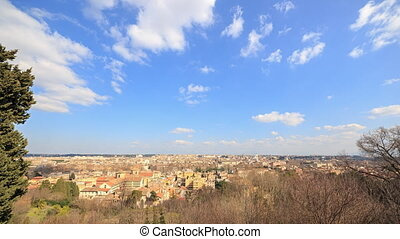 View from the Janiculum Hill (Gianicolo). Zoom. Italy. Time Lapse