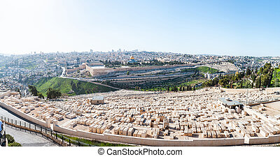 View from the Mount of Olives to Dome of the Rock and the old city of Jerusalem, Israel