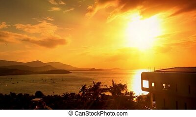 view from the mountain a beautiful sunset on tropical island Samui