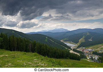 view from the mountain to the resort Bukovel