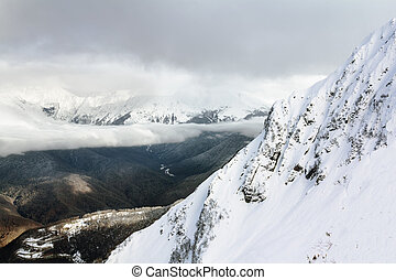 view from the mountains in Krasnaya Polyana, Russia