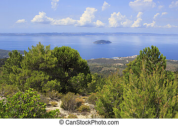 View from the mountains to the coast of Aegean Sea.