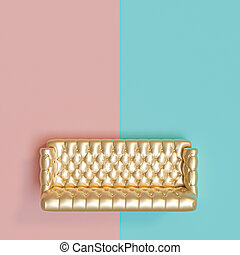view from the other of a gold-colored tufted sofa on a blue and pink background.