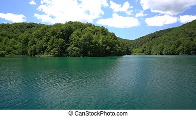 view from the passenger ship during the crossing of the lake in Plitvice National Park