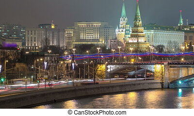 View from the Patriarchal Bridge on Moscow Kremlin andthe embankment of the Moscow river timelapse
