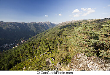 View from the Pedra Bela Viewpoint, at 800 meters altitude, of the Peneda-Geres National Park in Terras do Bouro region, Portugal.
