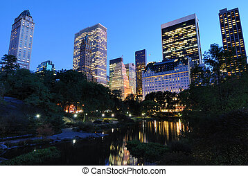 View from the Pond at Central Park in New York City.