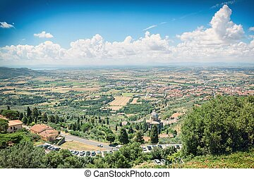 View from the ramparts of the medieval town of Cortona on Tuscany countryside, Italy