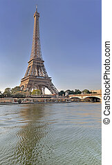 view from the river the seine of eiffel tower in Paris - France