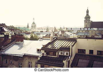 View from the roof on Lviv in the morning