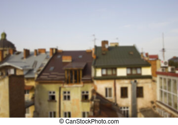 View from the roof on the houses in Lviv. Blurred background