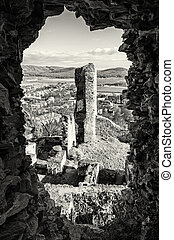 View from the ruins of Divin castle, colorless photo