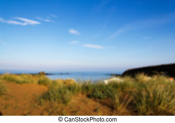 View from the sand dunes on Bude seafront Out of focus.