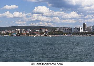 View from the sea on central beach resort town Gelendzhik, Krasnodar region