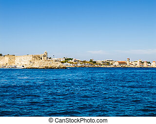 View from the sea to the fortress of Rhodes.