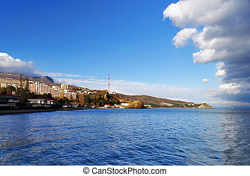 View from the sea to the town