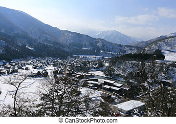 Viewpoint at Gassho-zukuri Village, Shirakawago, Japan - ...