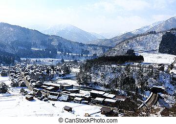 Viewpoint at Gassho-zukuri Village, Shirakawago, Japan -...