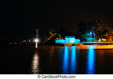 View from the Southernmost Point at night, in Key West, Florida.