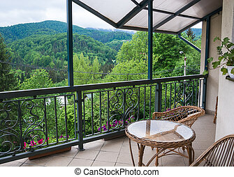 View from the terrace of the mountains