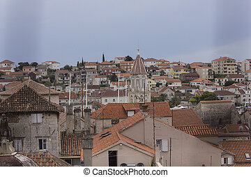 View from the top of ancient buildings in Trogir