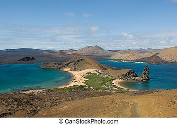 view from the top of bartolome island, galapagos, ecuador