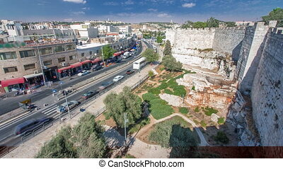 View from the top of Damascus gate to Jerusalem Old Town...