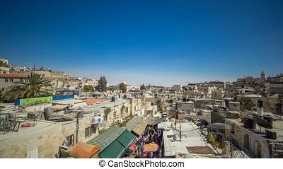 View from the top of Damascus gate to Jerusalem Old Town timelapse. Israel.