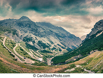 View from the top of famous Italian Stelvio High Alpine Road...