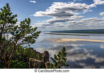 View point of National heritage of Russia Lena Pillars placed in republic Sakha, Siberia