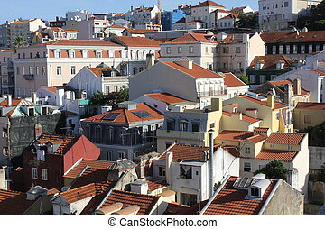 View from the top of Lisbon downtown