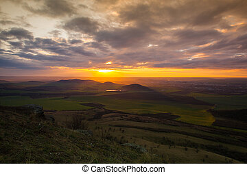 View from the top of Rana hill at sunrise. Autumn scenery in...