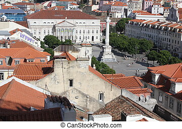 View from the top of Rossio Square