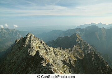 View from the top of Rysy in Tatras