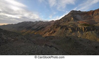View from the top of the Ophir Pass at Sunset