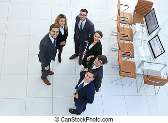 view from the top. successful business team