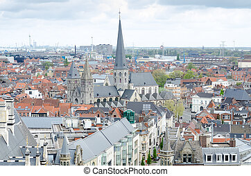 View from the tower of Belfort in Ghent, Belgium