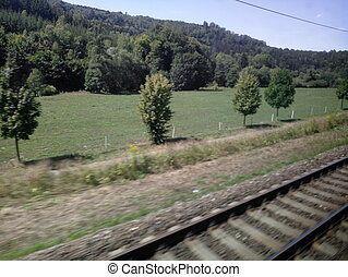 view from the train window while driving