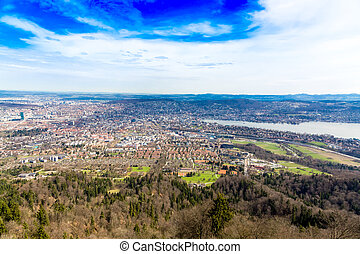 View from the Uetliberg mountain of Zurich city and lake