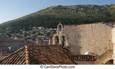 View from the wall of the old city of Dubrovnik on the bell tower and the roof of church of Our Lady of Mt.Carmel