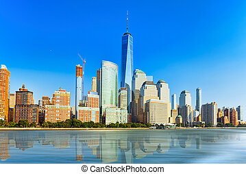 View from the water, from Hudson bay to Lower Manhattan. New...