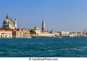 View from the water in the channel of Giudecca